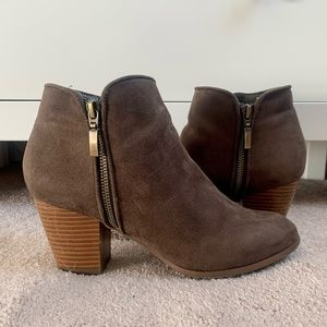 Brown faux suede booties